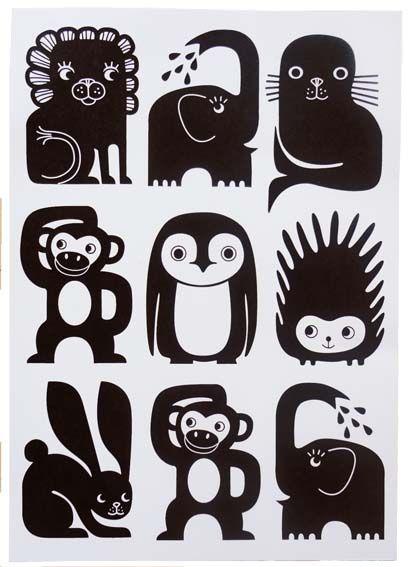 MIni Zoo grafisk postkort med dyr - Tinga Tango Designbutik. Interiørbutik - Interior - Children - Børn - Toys - Legetøj - Brugskunst - Design - Kunst - Webshop - Billig fragt - illustrationer - porcelæn - keramik - Black - Sort
