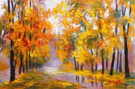 olejomalba krajina - podzimní les, plné spadaného listí, barevné obrázky, abstraktní kresby photo
