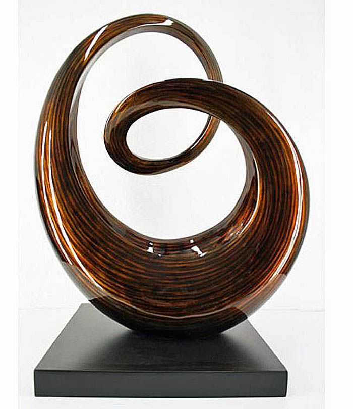 """""""Curves"""" Modern Fiber Wood Sculpture"""