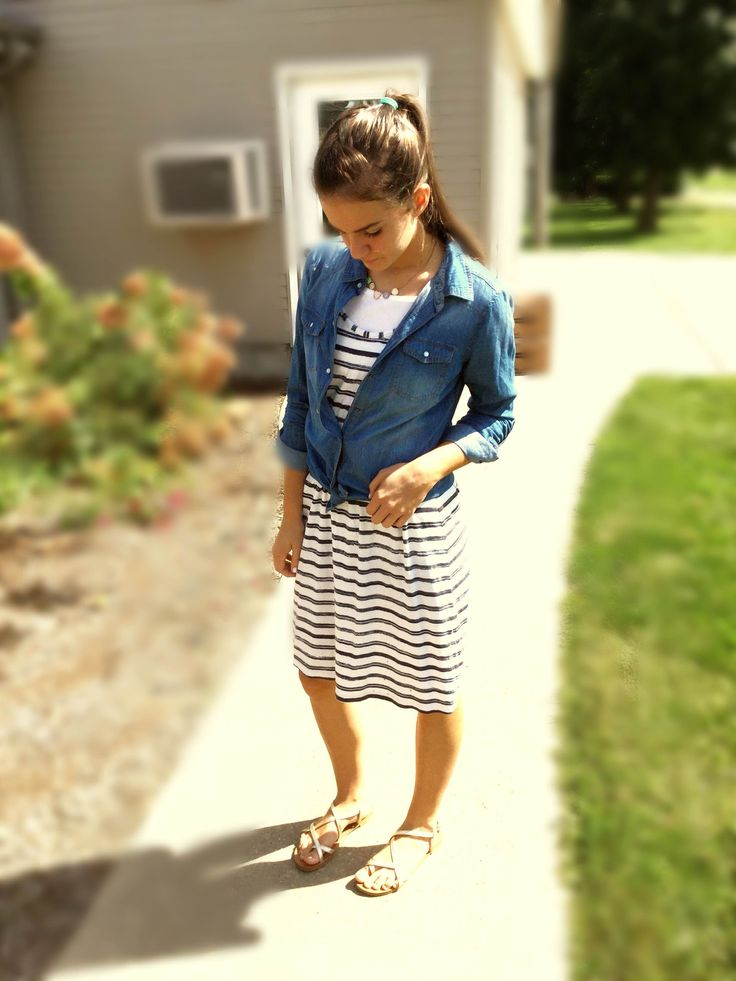 Modest Teen Fashion Autumn Fashion Jean blouse Stripe dress