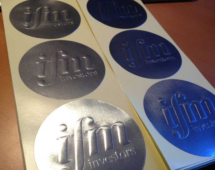 Embossed promotional stickers for IFM investors on silver foil stickers material! Classic