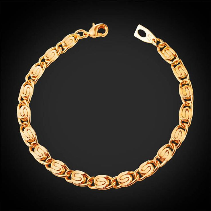 U7® Shop Anniversary ! Only 3 days' Sale ! 6MM Snail Link Chain Bracelet Bangle 18K Gold Plated Hip Hop Rock Jewelry For Men Gifts