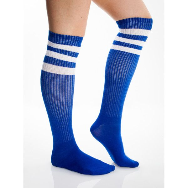 Royal Blue And White Athletic Stripe Knee High Socks (€5,36) ❤ liked on Polyvore featuring intimates, hosiery, socks, knee hi socks, knee high socks and knee socks