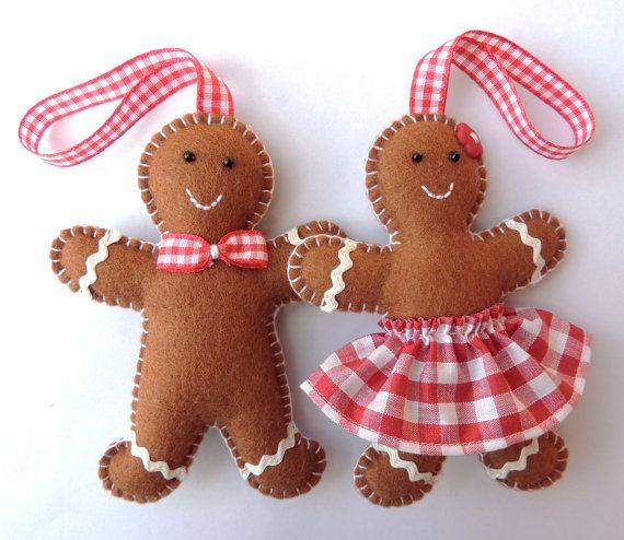 Mr & Mrs Gingerbread Felt Christmas Decorations