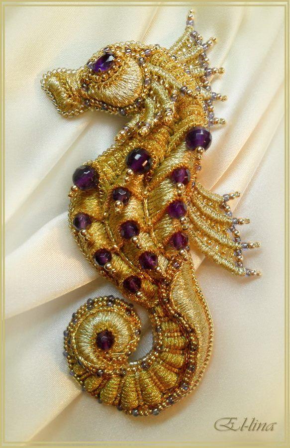 Elena Emelina, Seahorse brooch, beadwork, embroidery, needlepoint