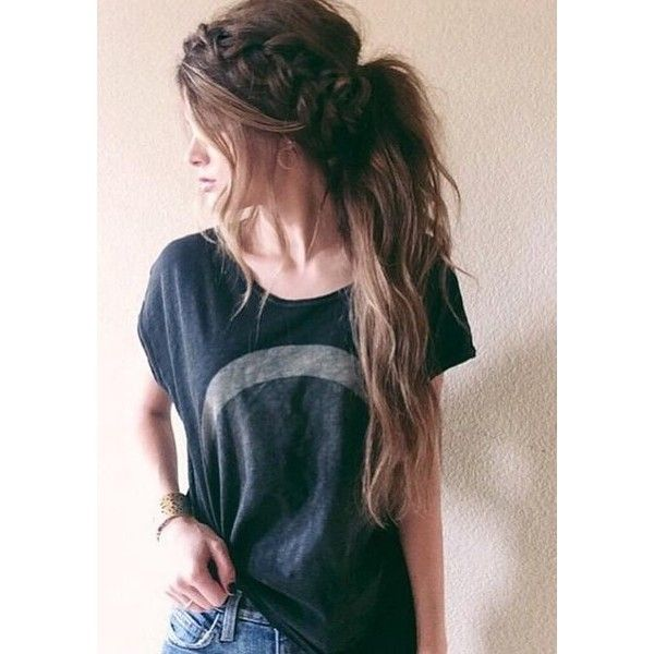 Messy Braided Hairstyles for Long Hair ❤ liked on Polyvore featuring hair, beauty and hairstyles