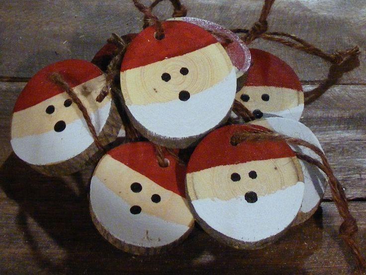 Santa Christmas Ornament Set - Hand Painted Christmas Ornaments - Wood Slice Ornament - Christmas Decorations - Christmas Tree Ornaments by GFTWoodcraft on Etsy https://www.etsy.com/listing/212493147/santa-christmas-ornament-set-hand