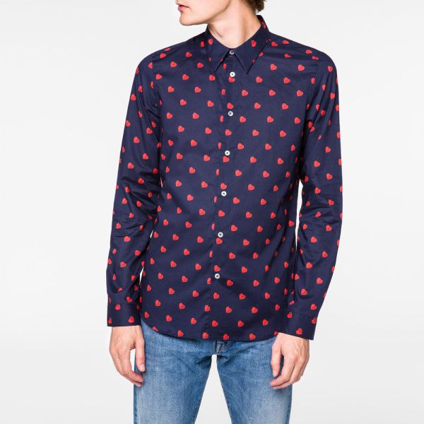 Paul Smith Men's Slim-Fit Navy 'Half-Heart' Print Shirt
