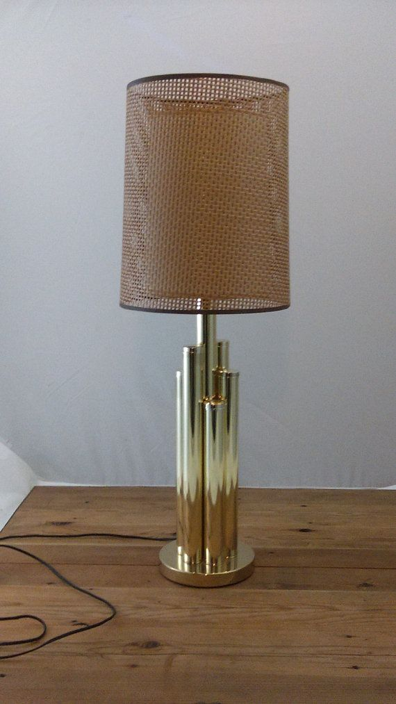 Mid century clover hollywood regency brass lamp with lampshade