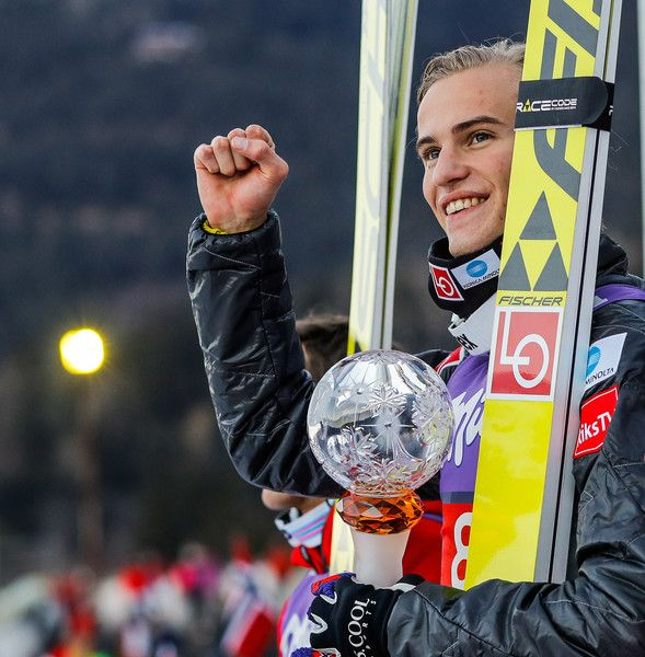 Daniel Andre Tande of Norway takes 1st place during the FIS Nordic World Cup Four Hills Tournament on January 1, 2017 in Garmisch-Partenkirchen, Germany.