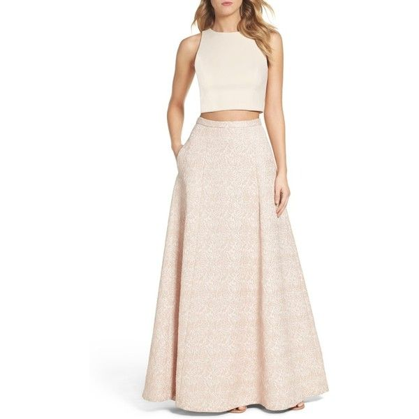 Women's Aidan By Aidan Mattox Two-Piece Gown ($295) ❤ liked on Polyvore featuring dresses, gowns, petal, two piece dresses, two piece gown, pastel pink dress, two piece evening dresses and a line ball gown