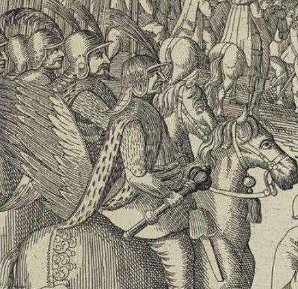 Fragment miedziorytu Hondiusa ukazujący husarię w 1634