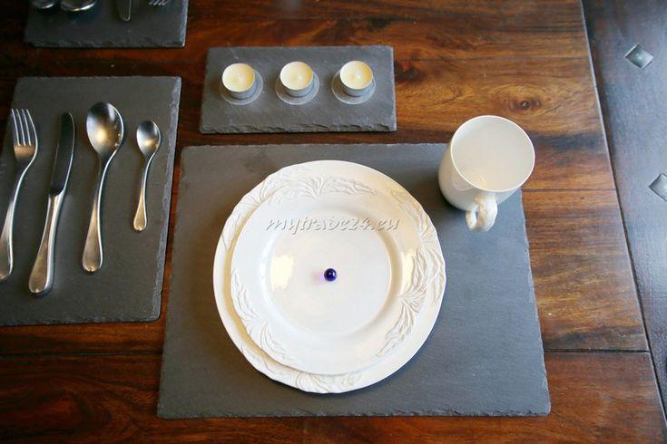 Weiteres - 8 x Natur Schiefer Platten 40x30 cm Platzset - ein Designerstück von mytrade24 bei DaWanda