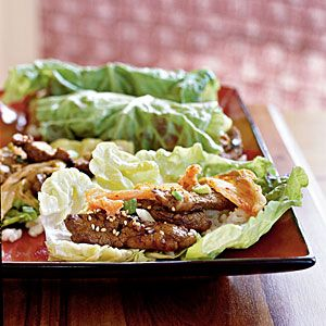 Korean Sesame Beef with Lettuce Wraps- made with some homemade kimchi and you have a family favorite!