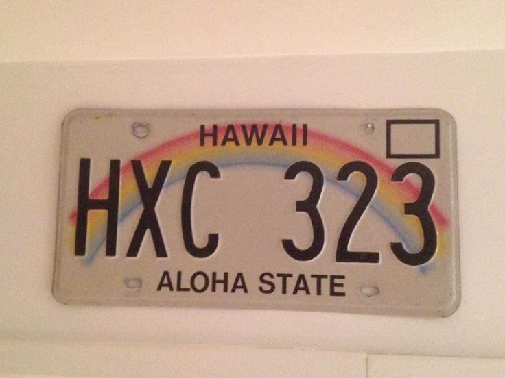 Hawaii state license plate.