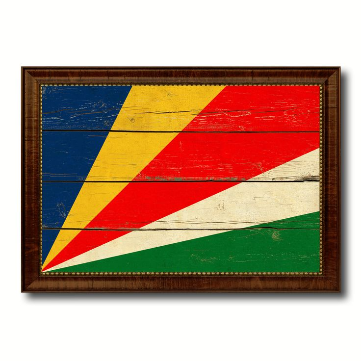 Seychelles Country Flag Vintage Canvas Print with Brown Picture Frame Home Decor Gifts Wall Art Decoration Artwork