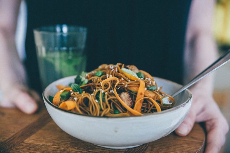 Eat and love: Asian noodles with vegetables and pieces of tofu