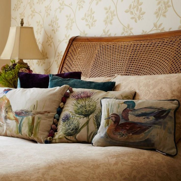Voyage Maison Ducks, Thistle & Pheasant Cushions. Available at www.thegreatbritishhome.com #voyagemaison #thegreatbritishhome #cushion #homedecor #madeinbritain #watercolourcushions #countrystyle