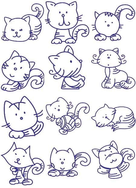 12 kitty Embroidery Designs - ideas for painted rocks