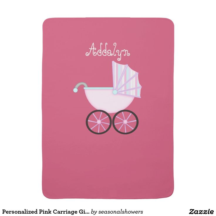 clever baby shower invitation wording%0A Cute  Personalized Pink Carriage Girl Baby Blanket