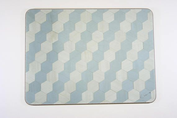 4 Placemats Duck Egg Blue Placemats Hexagon Art Deco Place mats Retro place mat Wedding Anniversary Gift 5th Anniversary Present Tablemat