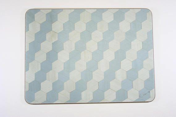 4 Placemats Duck Egg Blue Placemats Hexagon Art Deco Place