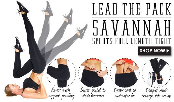 Lead the Pack! The Savannah Sports Tight. Made from performance supplex and sexy mesh panels. Bringing sexy back to workouts  ;) http://abiandjoseph.com/shop/new-arrivals/savannah-sports-full-length-tight-black.html