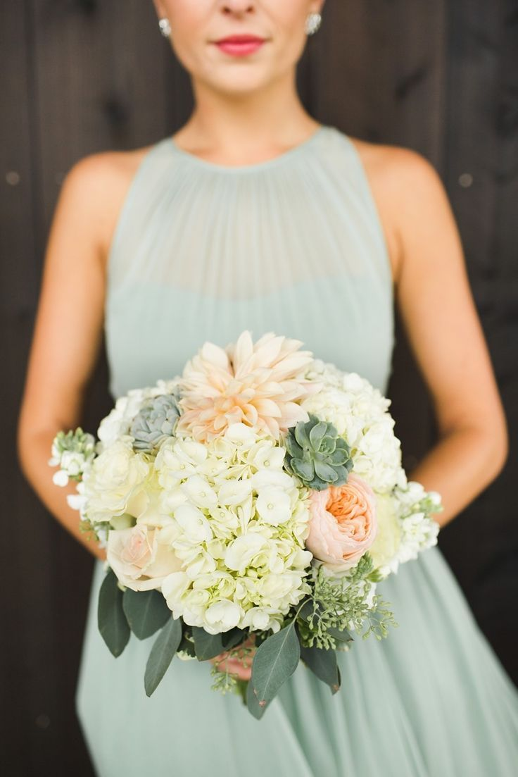 Love this shear, dulled mint green color dress for a bridesmaid. The color and fabric fit perfectly into a relax yet sophisticated wedding.
