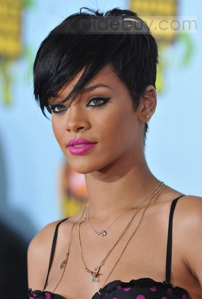 100%, Women Wigs  , $178.99, Custom Rihanna Unique Short Elegant Hairstyle about 8 Inches 100% Human Remy Hair Lace Wig