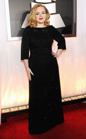 "Adele's Best Looks  Hot damn! The ""Rolling in the Deep"" singer stuns at the 2012 Grammy Awards in a sparkly three-quarter-sleeve black Armani gown, luscious curls and a deep-red lip. Best she's ever looked!"