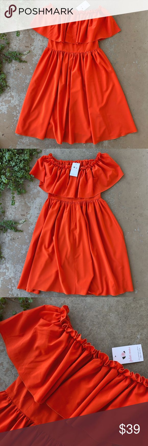 NWT Juliet Roses Off Shoulder Boho Tea Dress Bright red/orange tea dress with an off shoulder ruffle design by Juliet Roses from Nordstrom. Zips up the back. Size small. New with tags! Juliet Roses Dresses