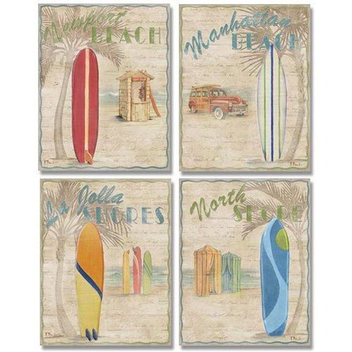 4 Vintage Surfing Beach Art Prints Retro Surf Posters 11 x 14 | eBay