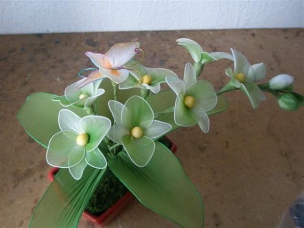 Figurettes - Zespół Aspergera lalki miniaturki zapiski Mamy Aspika: DIY Kwiaty z rajstop / pończoch galeria