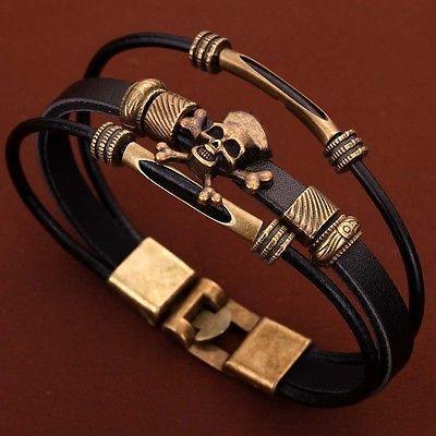 Leder Armband Bronze Skull Schädel Braun von Enkelbandjes, Voet Sieraden de JewelryMax auf DaWanda.com