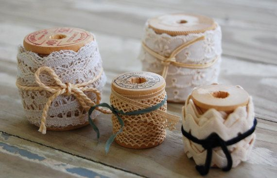 Lot of 4 Antique wooden thread spools by louisianamarketday, $9.00