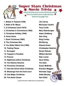 Super Stars Christmas Movie trivia