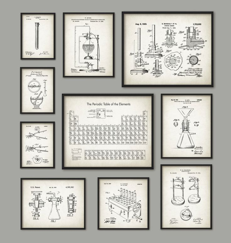 chemistry art print set of 10 periodic table of elements vintage chemistry patent - Periodic Table Of Elements Vintage