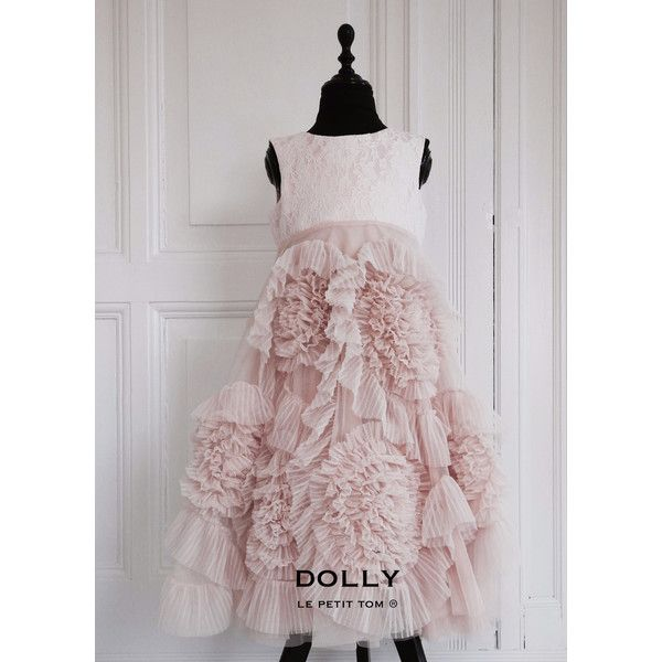 DOLLY by Le Petit Tom FRISKY FROLIC LONG DRESS blush/ off-white ($193) ❤ liked on Polyvore featuring dresses, gowns, petite prom dresses, prom dresses, petite evening dresses, long lace dress and petite evening gowns