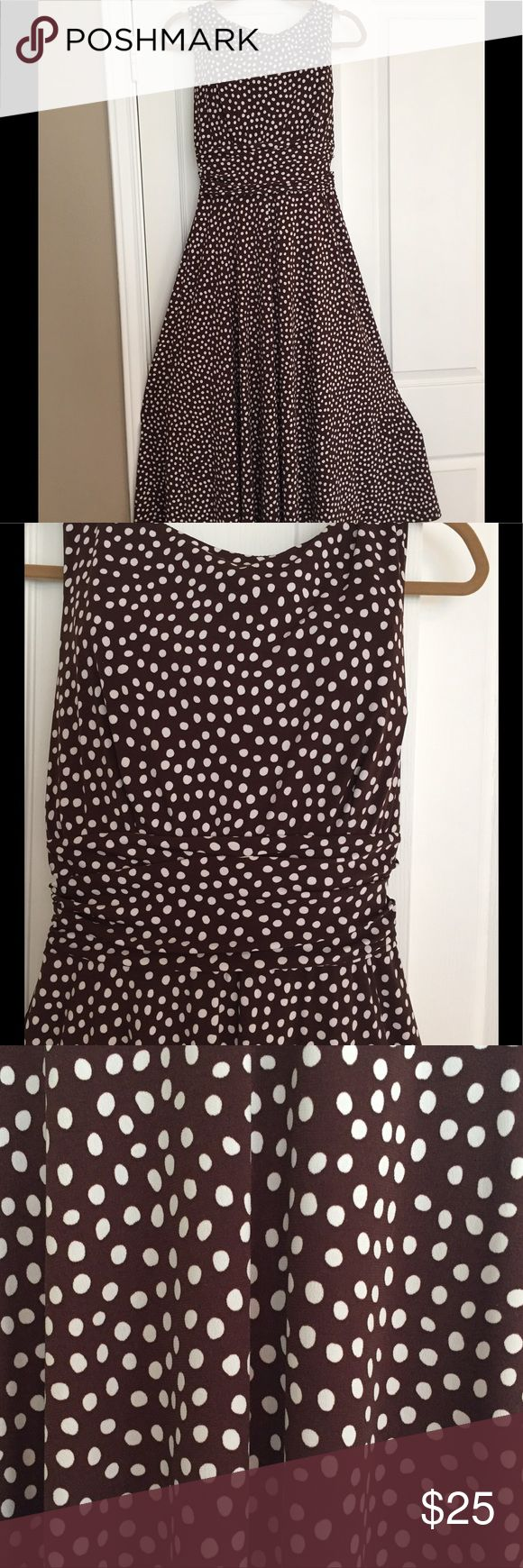 Brown and white polka dot summer dress Silky brown and white polka dots,  perfect summer dress. Flattering ruching at the waist Perceptions Dresses