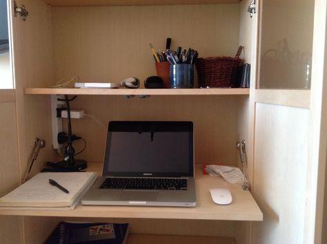 Secret BILLY bureau from IKEA Hacks: put a fold-out desk inside a BILLY bookshelf with doors