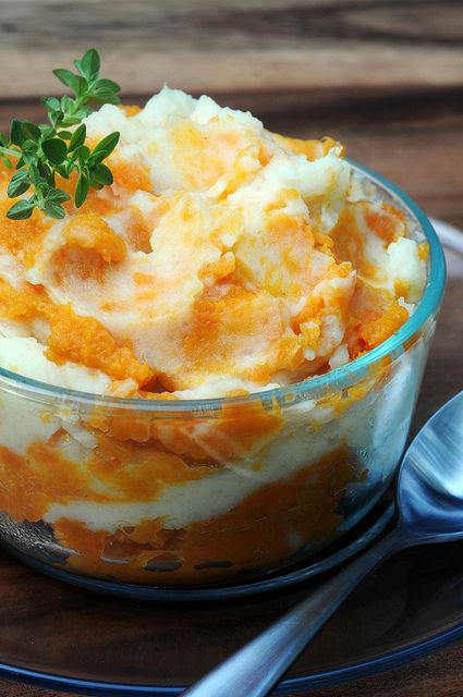 Sweet and White Mashed Potato Swirl Recipe ~ White potatoes and sweet potatoes mashed and then swirled together make a great side dish.