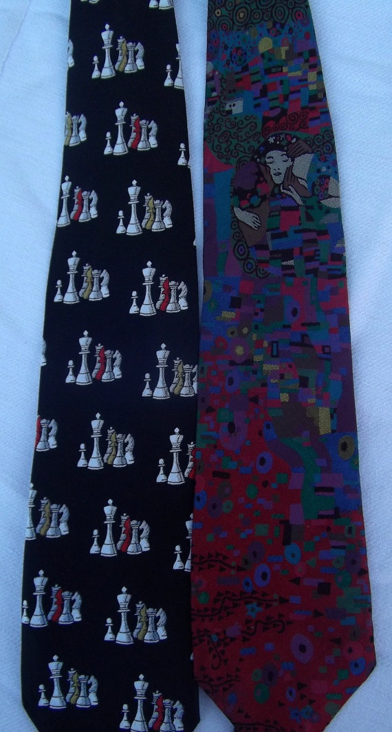 lot of 2 vintage silk ties chess print black white by CHEZELVIRE, $10.00