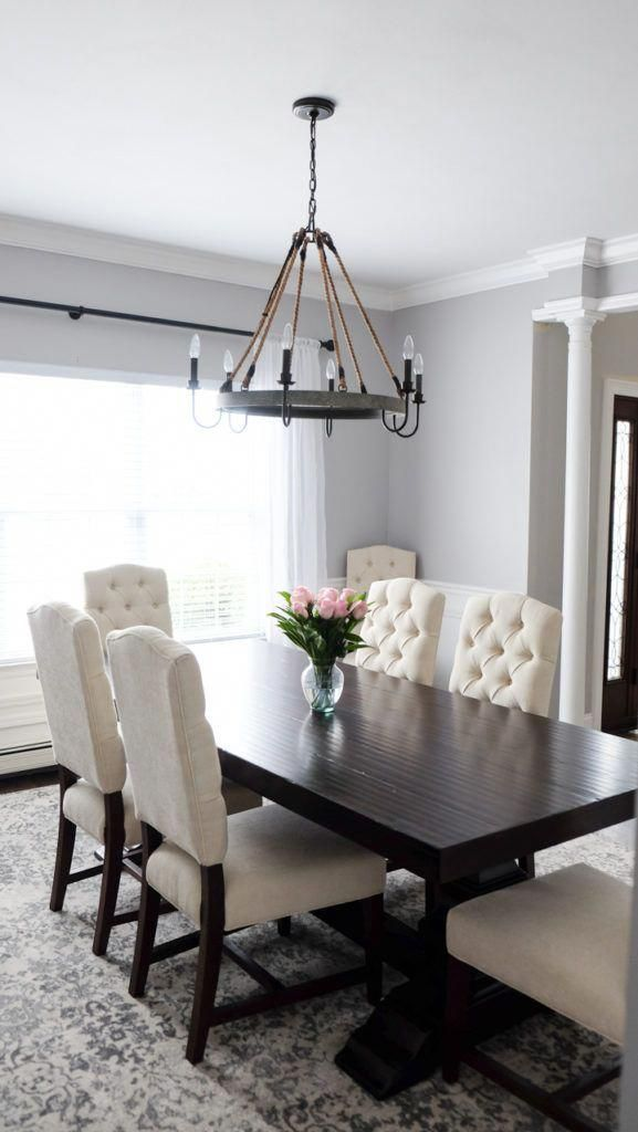 Gray And White Dining Room Pottery Barn Tufted Chairs And Banks Dark Wood Table Diningroomideas Dark Dining Room Dining Room Contemporary Dining Room Remodel