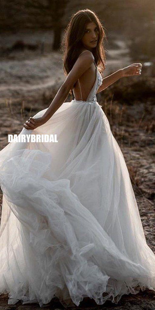 Cheap A-Line Tulle Spaghetti Straps Backless Applique Wedding ceremony Attire, FC2571