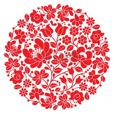 Kalocsai folk art embroidery - red Hungarian round floral folk pattern