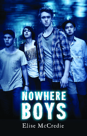 """""""Nowhere boys"""", by Elise McCredie - When a school excursion goes wrong, four teenage boys spend a terrifying night in the bush, sheltering from a violent storm. The next day they find their way home, pnly to discover something strange and terrible has happened: they have returned to a world where they no longer exist. It's not they they are ghosts - people can see and hear them. But no-one seems to know who they are."""