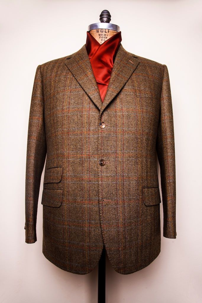 """On the First day of Christmas my true love sent to me a Sport Coat in a Bright Check.""  This gentleman's sport coat is made of Glen Royal fabric from Porter & Harding, with a herringbone ground and over-check."