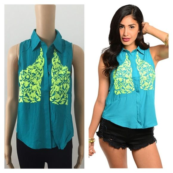 Medium NWT teal & yellow top ****PRICE FIRM NO TRADES****  This unique strapless sleeveless top features a collared neck and hidden front placket. Bright embroidered chest detailing. Slit back hem design.   Item is new with tags and will come wrapped in plastic.  Color: teal and neon yellow embroidery   ****PRICE FIRM NO TRADES**** ****PRICE FIRM NO TRADES**** Tops