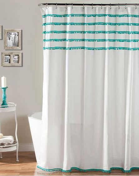 Aria Pom Pom Aqua Shower Curtain Everything Turquoiseeverything Turquoise Home Bathrooms