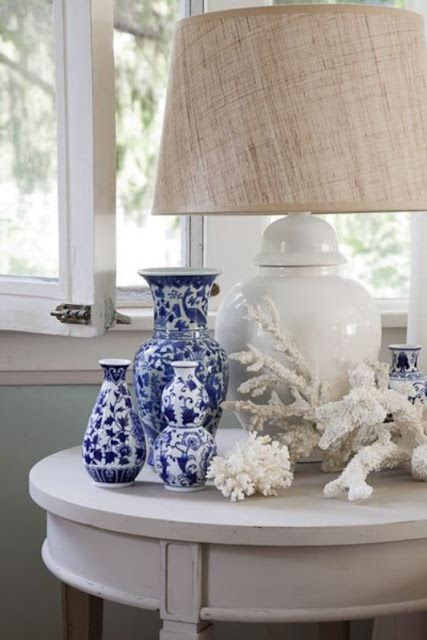 blue and white porcelain and natural coral go together so well